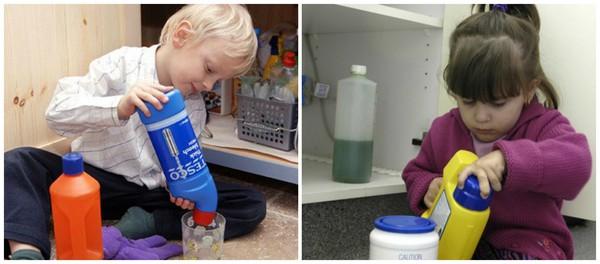 дети играют с бытовой химией