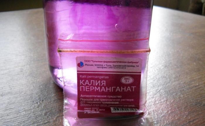 Цвет марганцовки для промывания желудка