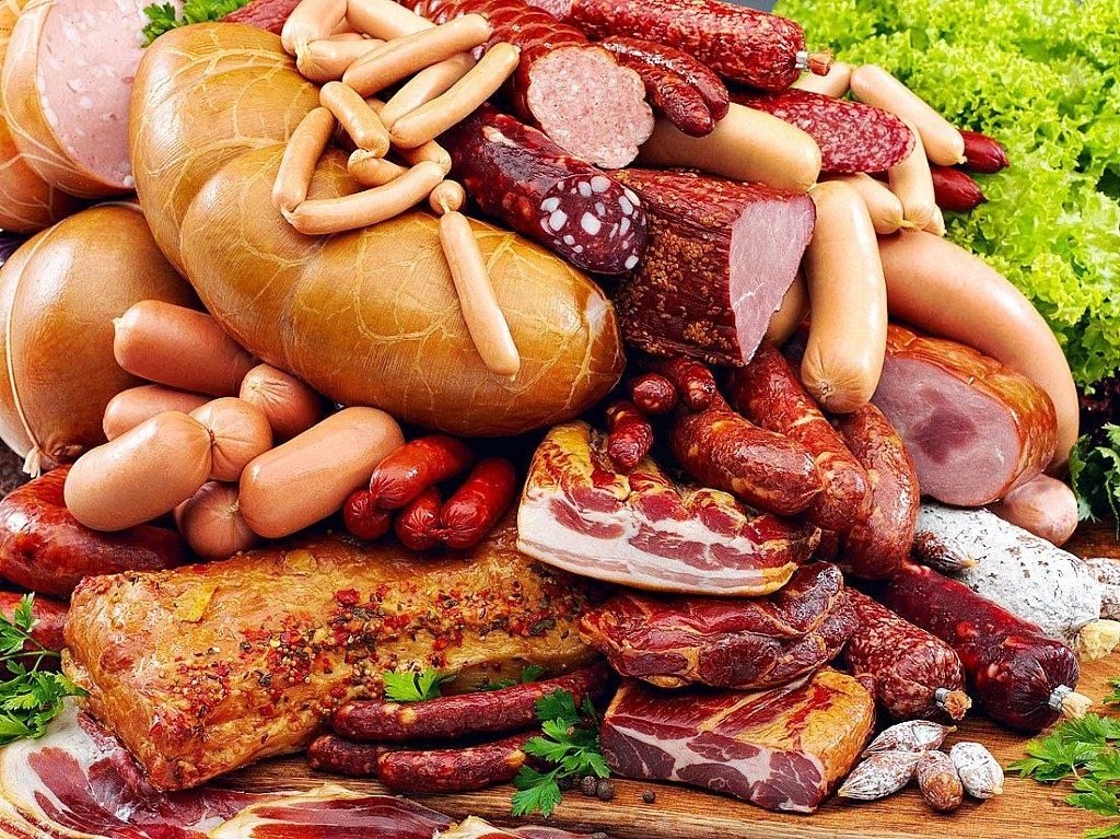 колбаса, сосиски, сало
